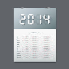 Calendar 2014 Number paper digital design, vector illustration