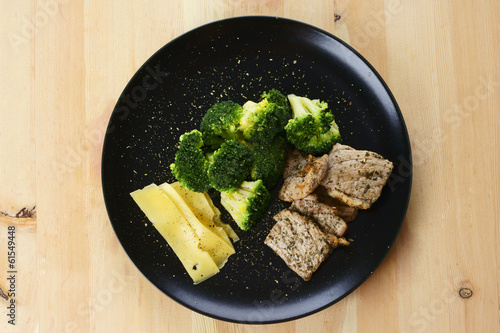 Dinner plate with a healthy food
