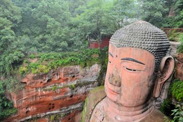 World's biggest Buddha in Leshan closeup