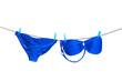 Drying blue bikini on a clothes line - 61550447