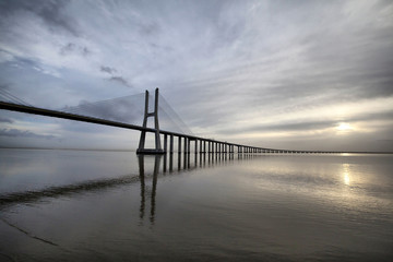 The Vasco da Gama Bridge is a famous landmark in Lisbo, Portugal