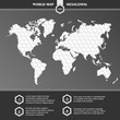 Infographic World Map symbols and typography