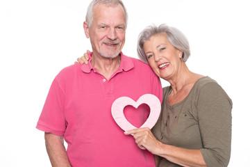 Senior couple with heart