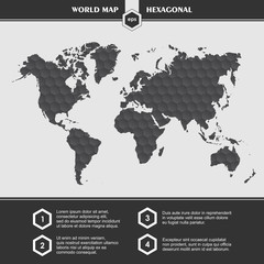 Infographic black World Map symbols and typography