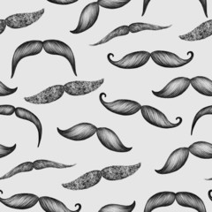 Mustache hand drawn seamless pattern on gray background