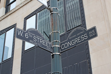 Sign for West 6th Street and Congress Avenue in Austin, Texas
