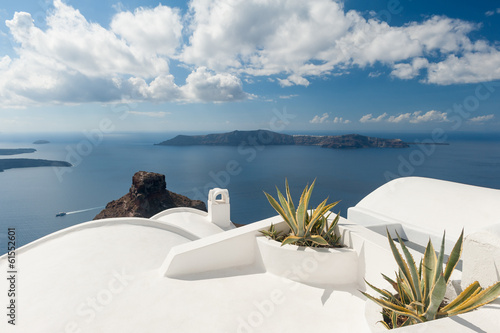 Rooftop plants on house in Santorini Greece