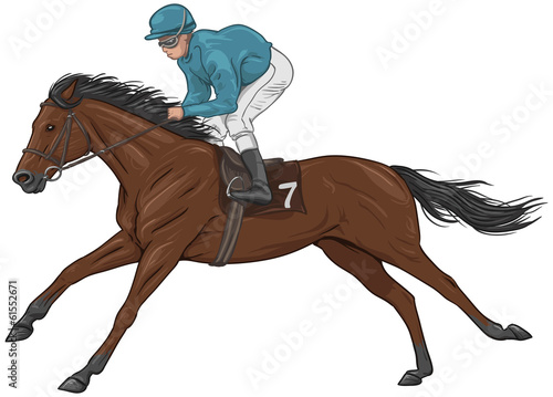 Jockey on a brown racehorse