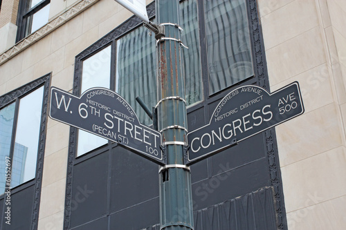 Foto op Canvas Texas Sign for West 6th Street and Congress Avenue in Austin, Texas