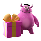 3D monster, funny mascot with a large birthday gift