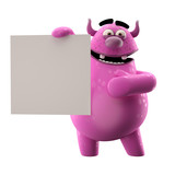 3D monster, cuddly mascot isolated on a white background poster