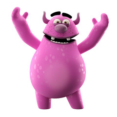 3D cartoon monster, lucky mascot stretching hands up