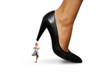 calm businesswoman under big heel