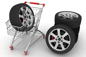 3D Shopping cart with wheels.