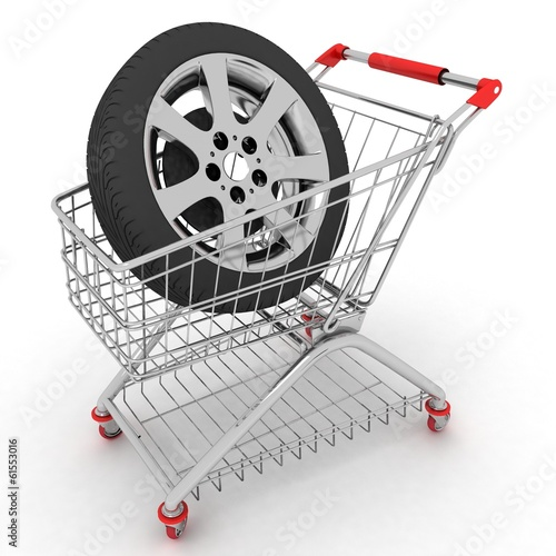 3D Shopping cart with wheel.