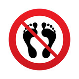 Human footprint sign icon. No Barefoot symbol.