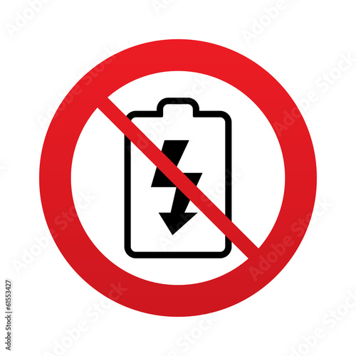 No Battery charging sign icon. Lightning symbol. - 61553427