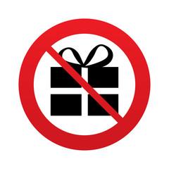 No Gift box sign icon. Present symbol.
