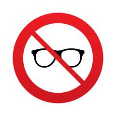 No Retro glasses sign icon. Eyeglass frame symbol.