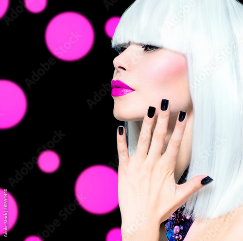 Vogue Style Model Portrait. Girl with White Hair and Black Nails