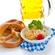 Fresh german pretzels with obatzda and beer