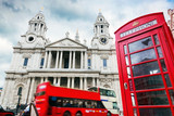 St Paul's Cathedral, red bus, telephone booth. Symbols of London