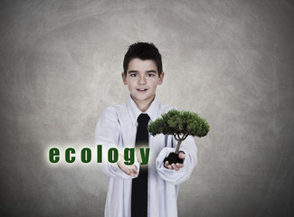 young man in business clothes tree and ecological message