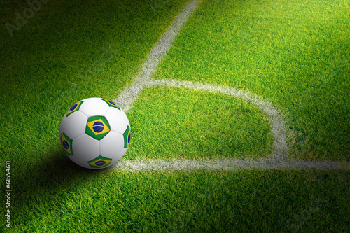 Soccer ball in field corner