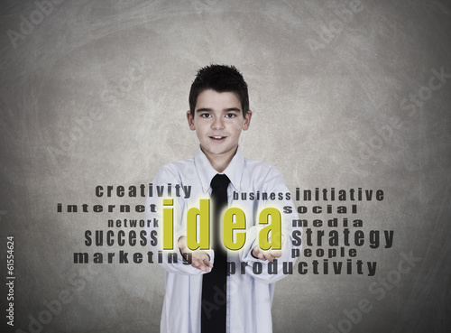 young man in business clothes with the idea and message concepts