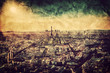 Paris, France at sunset. Aerial view on landmarks. Vintage