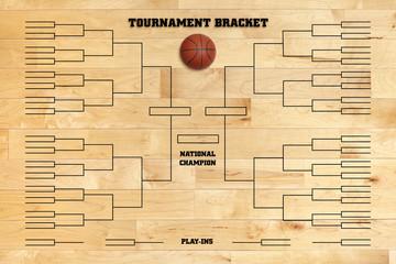 Basketball tournament bracket on wood gym floor