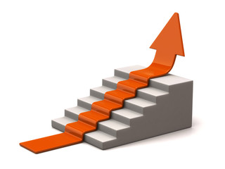 Orange arrow climbs upwards on white background