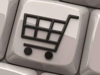Shopping cart symbol on computer key
