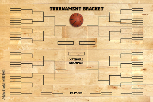 Basketball tournament bracket on wood gym floor