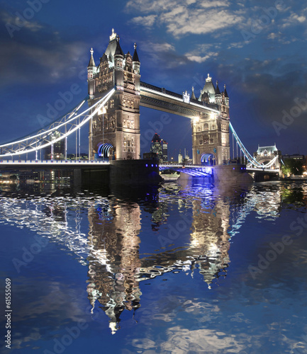 Tower Bridge in the evening, London, UK