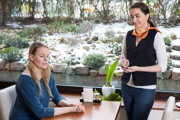 unsatisfied customer in restaurant or café