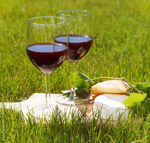 Two glasses of the natural homemade red wine