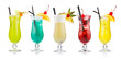Set of alcoholic cocktails isolated on white - 61556250