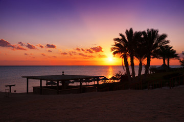 Sunset over the Red sea, Marsa Alam, Egypt