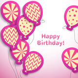 Happy birthday retro postcard with pattern balloons
