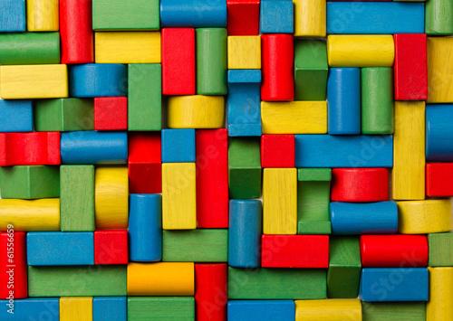Toys blocks, multicolor wooden colorful bricks - 61556659