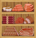 Shelfs with meat products. Meat market.