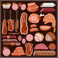 Set of meat products.