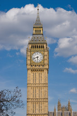 Big Ben In London..Big Ben against a cloudy blue sky, London