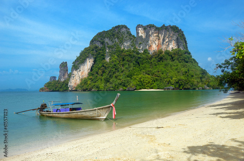 Longtail boat on beautiful tropical beach, Krabi, Thailand