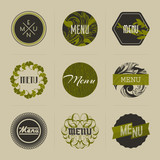 Elegant nature-themed badges in green. Vector illustration