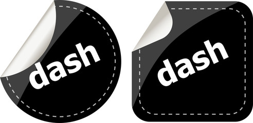 dash word on black stickers web button set, label, icon