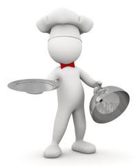omino bianco cuoco con vassoio