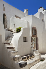 Village houses with staircases in Emporio, Santorini