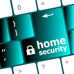 Safety concept: computer keyboard with Home security icon
